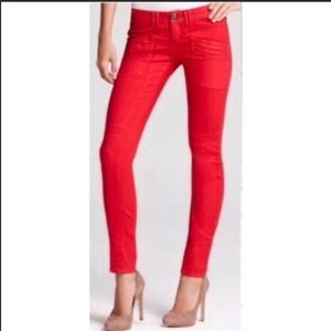 Free People Red Moto Utility Low Rise Skinny Jeans
